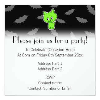 Cute Spooky Green Cat with Bats. 5.25x5.25 Square Paper Invitation Card