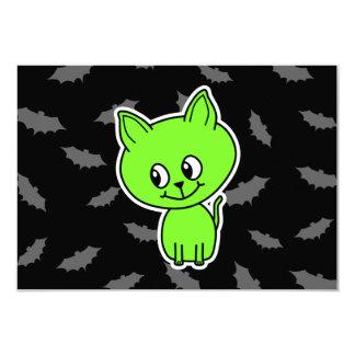 Cute Spooky Green Cat with Bats. 3.5x5 Paper Invitation Card