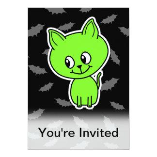 Cute Spooky Green Cat with Bats. 5x7 Paper Invitation Card