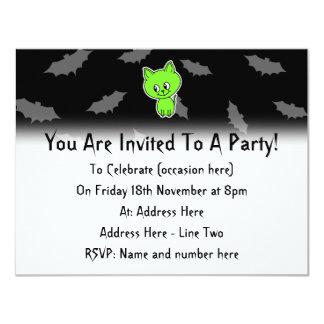 Cute Spooky Green Cat with Bats. 4.25x5.5 Paper Invitation Card