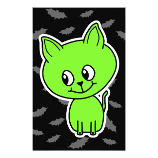 Cute Spooky Green Cat with Bats Personalized Flyer