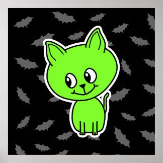 Cute Spooky Green Cat with Bats. Print