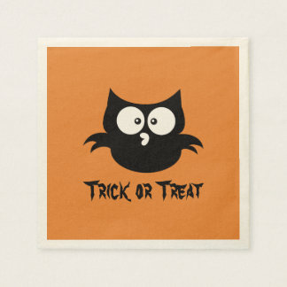 Cute Spooky Halloween Trick or Treat Black Owl Disposable Napkins