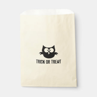 Cute Spooky Halloween Trick or Treat Black Owl Favour Bag
