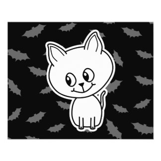 Cute Spooky White Cat and Bats Custom Flyer