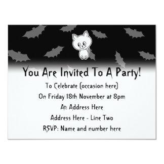 Cute Spooky White Cat and Bats. 4.25x5.5 Paper Invitation Card