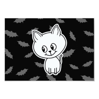 Cute Spooky White Cat and Bats. 3.5x5 Paper Invitation Card