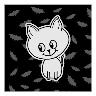Cute Spooky White Cat and Bats. Poster