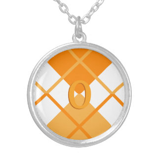 Cute Sporty Orange Peach White Argyle Monogrammed Silver Plated Necklace