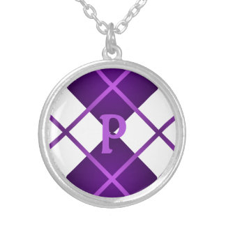 Cute Sporty Purple Grape White Argyle Monogrammed Silver Plated Necklace