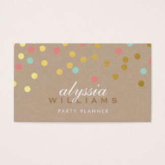 CUTE SPOT confetti trendy gold coral mint kraft Business Card