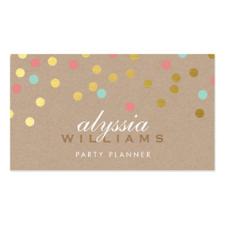 CUTE SPOT confetti trendy gold coral mint kraft Pack Of Standard Business Cards