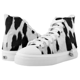 Cute Spotted Cow Hide Look Printed Shoes