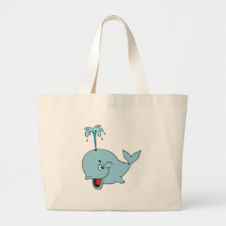 cute spouting whale large tote bag