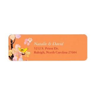 Cute Spring Bird Orange Wedding Address Return Address Label
