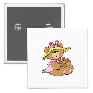 Cute Spring Bonnet Teddy Bear 15 Cm Square Badge