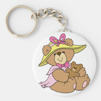 Cute Spring Bonnet Teddy Bear Basic Round Button Key Ring