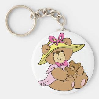 Cute Spring Bonnet Teddy Bear Basic Round Button Key Ring