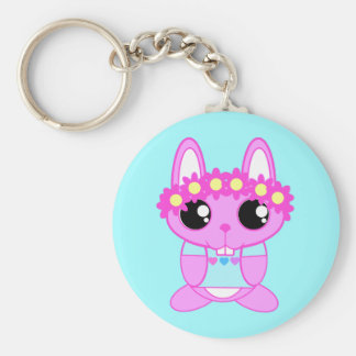 Cute Spring Bunny Rabbit Basic Round Button Key Ring