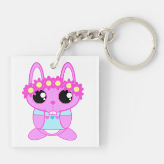 Cute Spring Bunny Rabbit Double-Sided Square Acrylic Key Ring