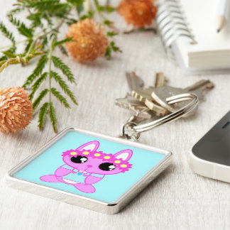 Cute Spring Bunny Rabbit Silver-Colored Square Key Ring