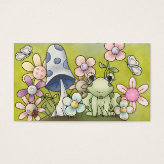 Cute spring design with animals and flowers business card