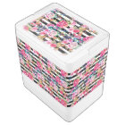 Cute spring floral and stripes watercolor pattern cooler