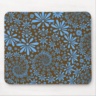 Cute Spring Flowers Blue and Brown Mouse Pad