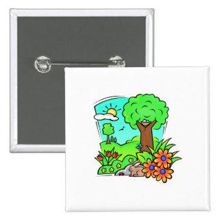 Cute Spring Naute Scene 15 Cm Square Badge