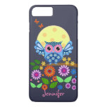 Cute spring Owl & custom Name iPhone 7 Plus Case