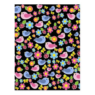 Cute spring pattern postcard