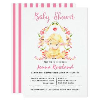 Cute Spring Sheep Baby Shower Invitation