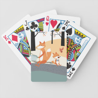 Cute spring summer baby fox and papa fishing bicycle playing cards