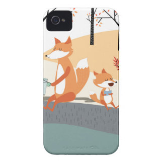Cute spring summer baby fox and papa fishing Case-Mate iPhone 4 cases