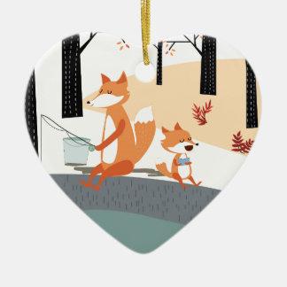 Cute spring summer baby fox and papa fishing ceramic ornament