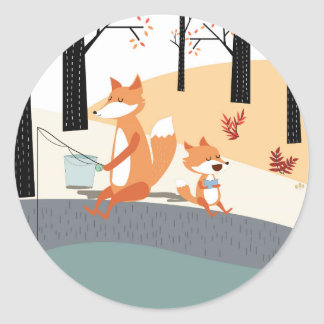 Cute spring summer baby fox and papa fishing classic round sticker