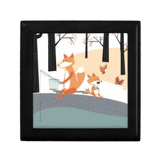 Cute spring summer baby fox and papa fishing gift box