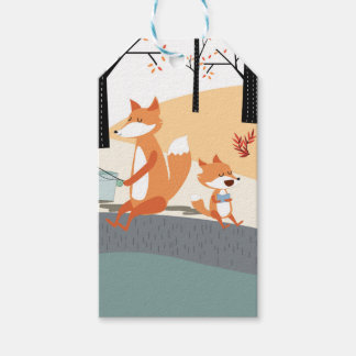 Cute spring summer baby fox and papa fishing gift tags