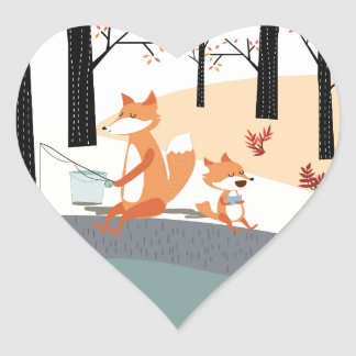 Cute spring summer baby fox and papa fishing heart sticker