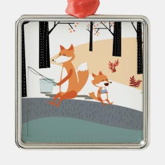 Cute spring summer baby fox and papa fishing metal ornament