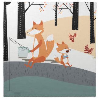 Cute spring summer baby fox and papa fishing napkin
