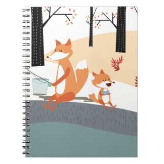 Cute spring summer baby fox and papa fishing notebook