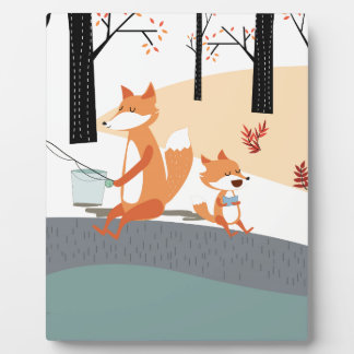 Cute spring summer baby fox and papa fishing plaque