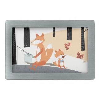 Cute spring summer baby fox and papa fishing rectangular belt buckles