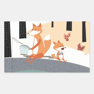 Cute spring summer baby fox and papa fishing rectangular sticker