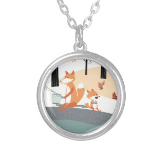 Cute spring summer baby fox and papa fishing silver plated necklace