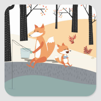 Cute spring summer baby fox and papa fishing square sticker