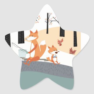 Cute spring summer baby fox and papa fishing star sticker