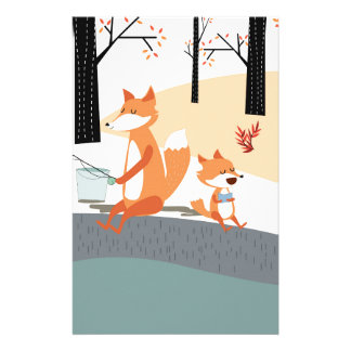 Cute spring summer baby fox and papa fishing stationery