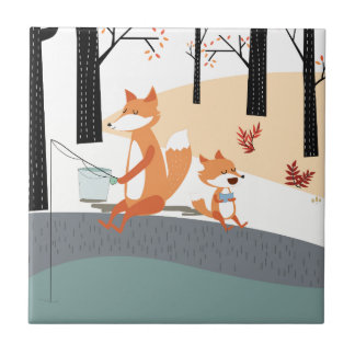 Cute spring summer baby fox and papa fishing tile